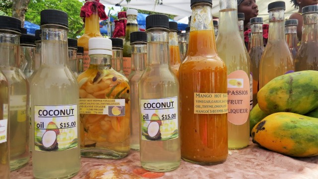Locally made hot sauce, coconut oil and passion fruit liquor.