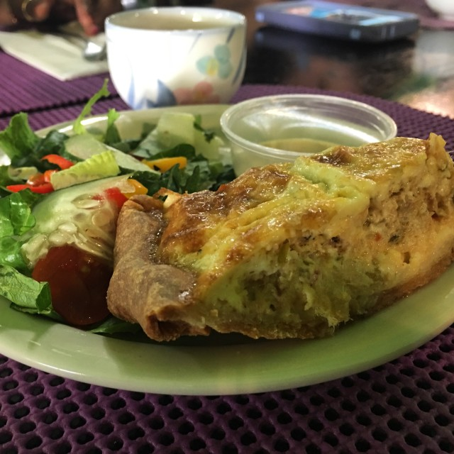 Saltfish quiche & salad at E's Garden Tea House.