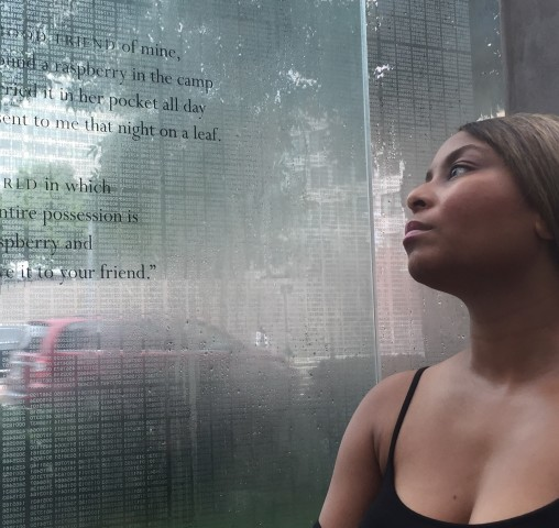 Inscribed quote of the horrid accounts that holocaust survivors shared.