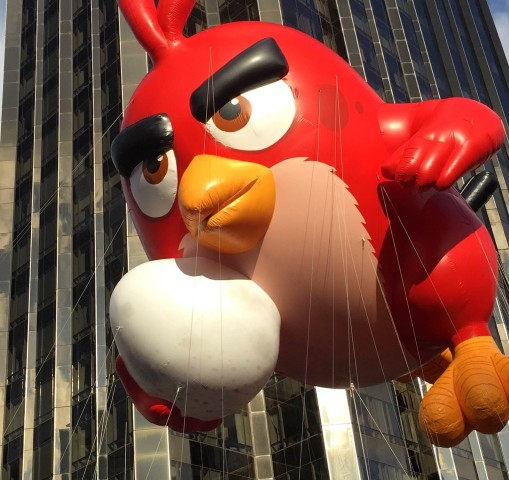 Angry Bird floats on the parade route.