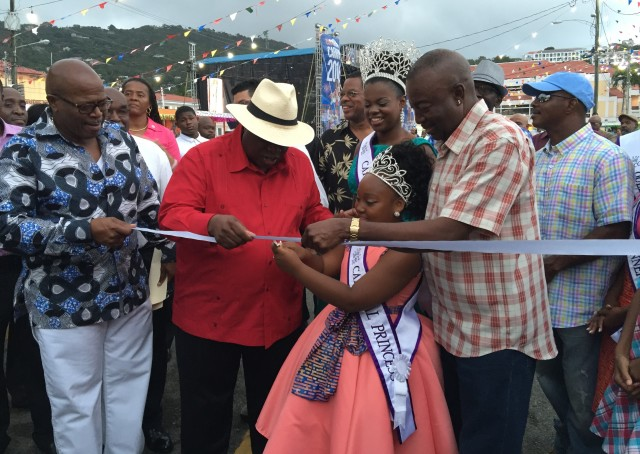 The official opening of the Children Village. Gov. Mapp (left), Carnival Princess Laila Evelyn (middle) and Lt. Gov. Potter (right).